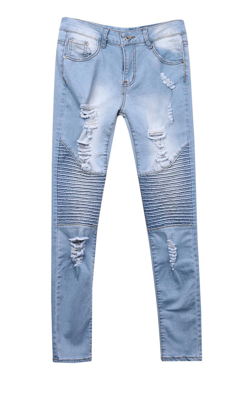 64d1ce4617 Compre Las Señoras Estiran Los Pantalones Vaqueros Ajustados Atractivos De  Las Mujeres De Talle Alto Slim Fit Denim Pantalones Slim Denim Straight  Biker ...