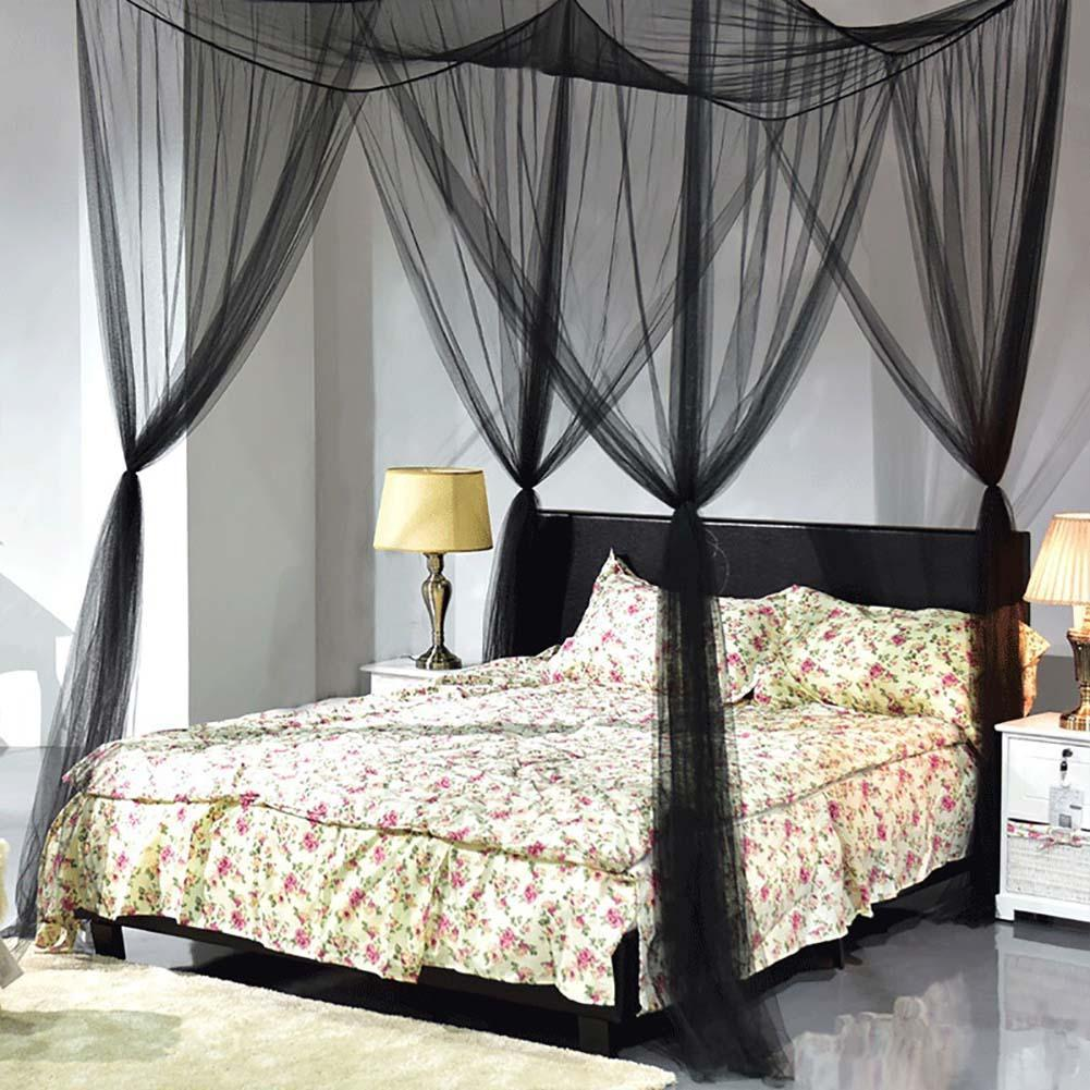 Bed Canopy Mosquito Net Curtain Solid Color Polyester Mesh 4 Doors