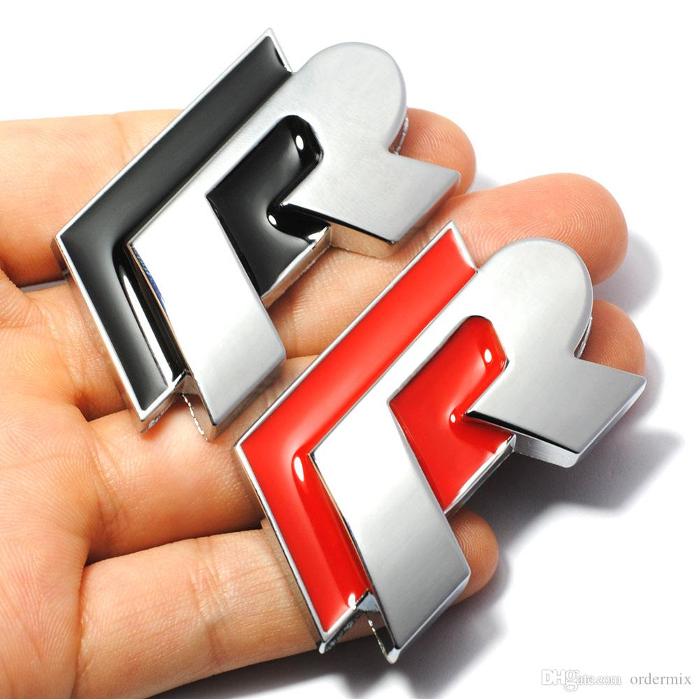 Auto 3D Black Red R Metal Car Front Grill Hood Emblem Logo Sticker for Volkswagen VW GOLF POLO JETTA MK6 Grille Car Styling