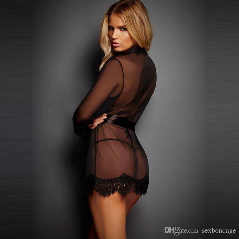 Atacado Sexy Pijamas Mulheres Baixo Bosom Pijamas Com Bandagens Perspectiva Sexy Nightwear See-Through Night Dress Para A Vida Sexual