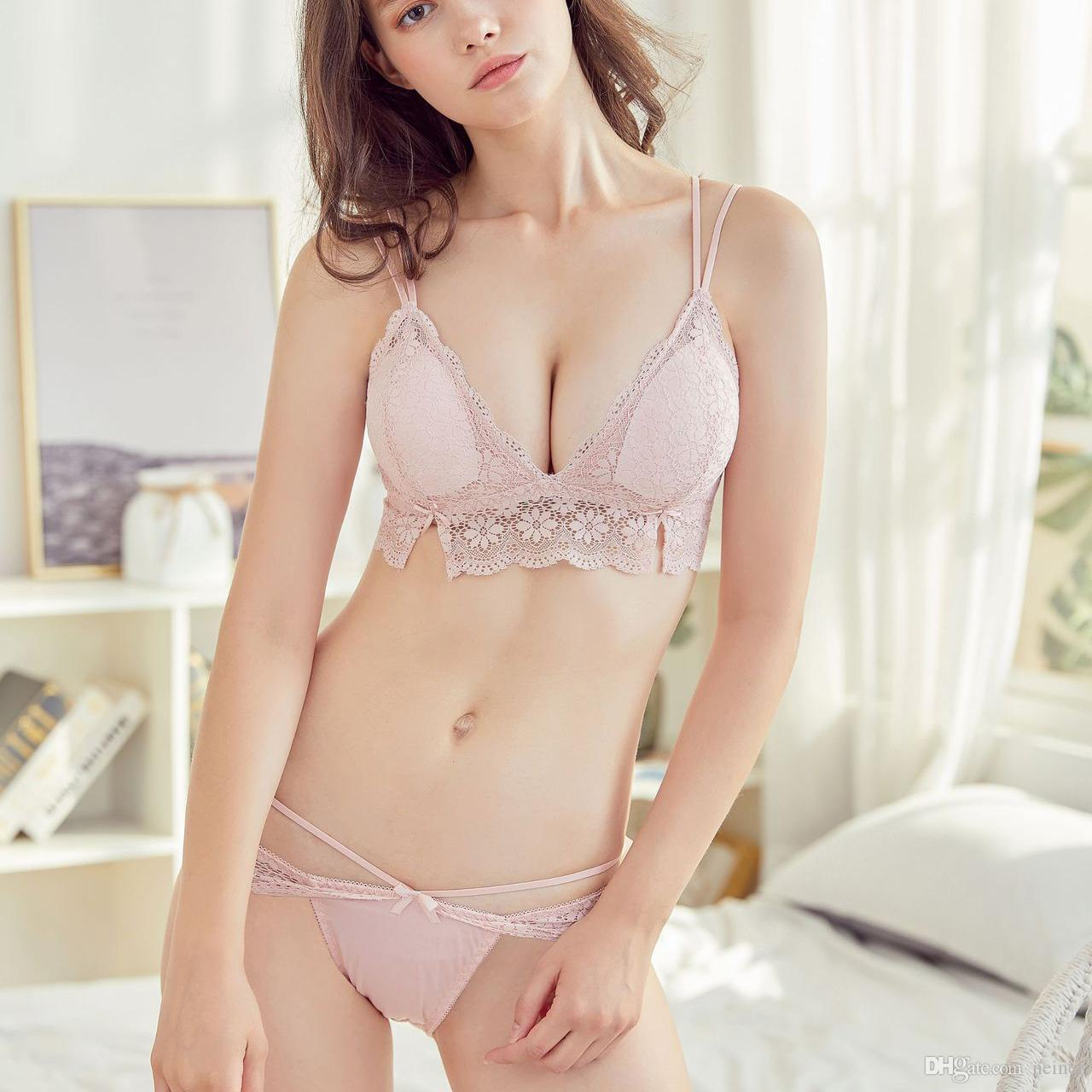 6e1ff4a0f0 2019 Deep V Neck Bra Women Push Up Underwear Set Bra And Set For Female Thin  With Pad Wire Free Full Lace Girls Bras Panties From Neinei