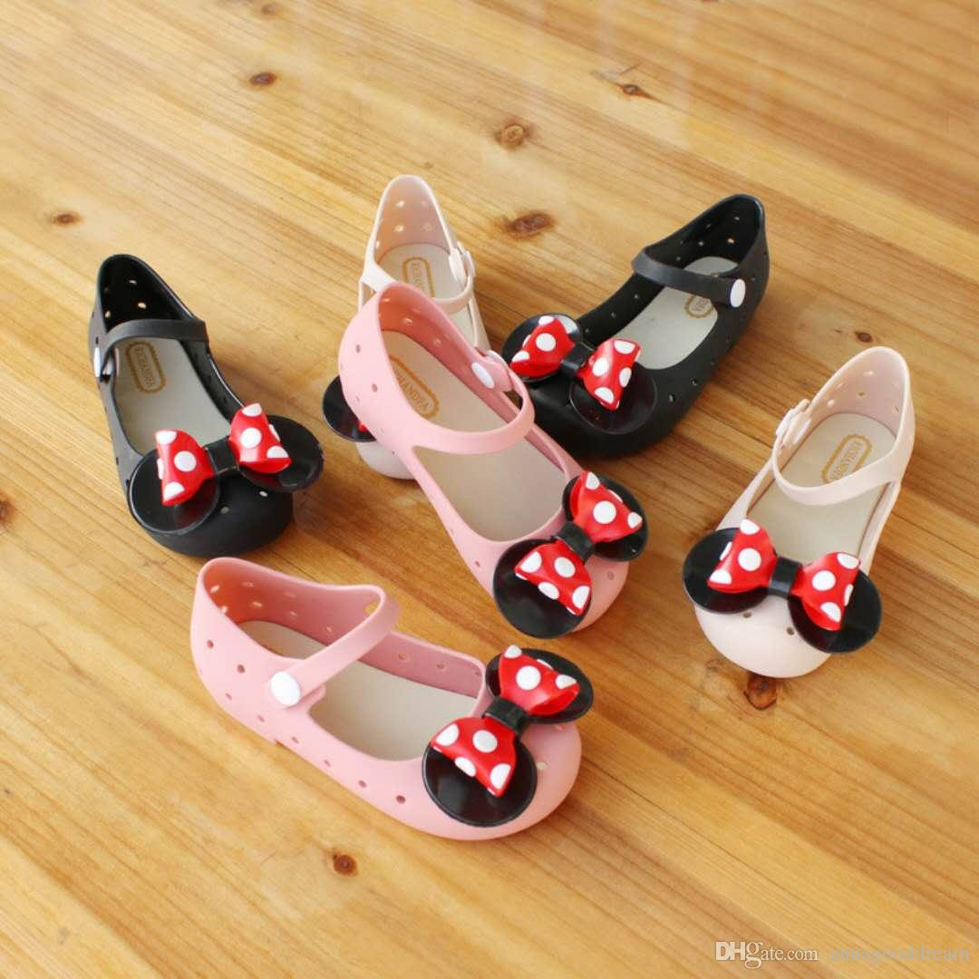 dd3a5b08f31 Mini Melissa Mickey bow Jelly Shoes Boys Girls Sandals Soft Comfort Toddler  Baby Kids Beach Sandals