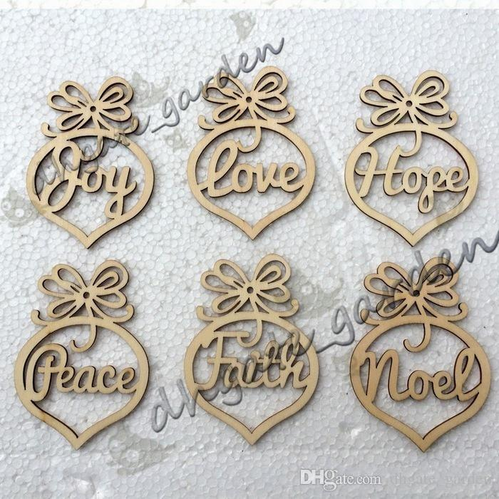 Christmas letter wood Heart Bubble pattern Ornament Christmas Tree Decorations Home Festival Ornaments Hanging Gift, bag
