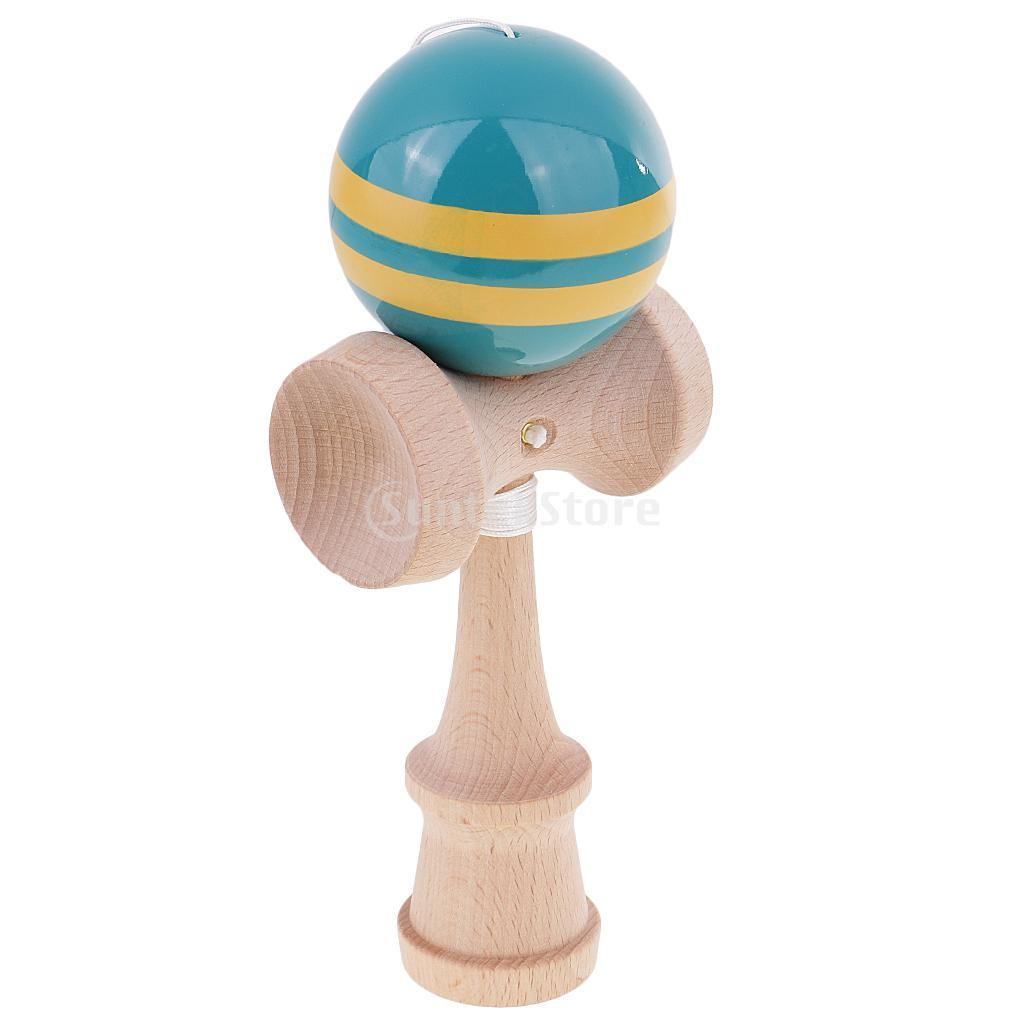 kendama stripes wooden ball catch game wooden toy blue yellow