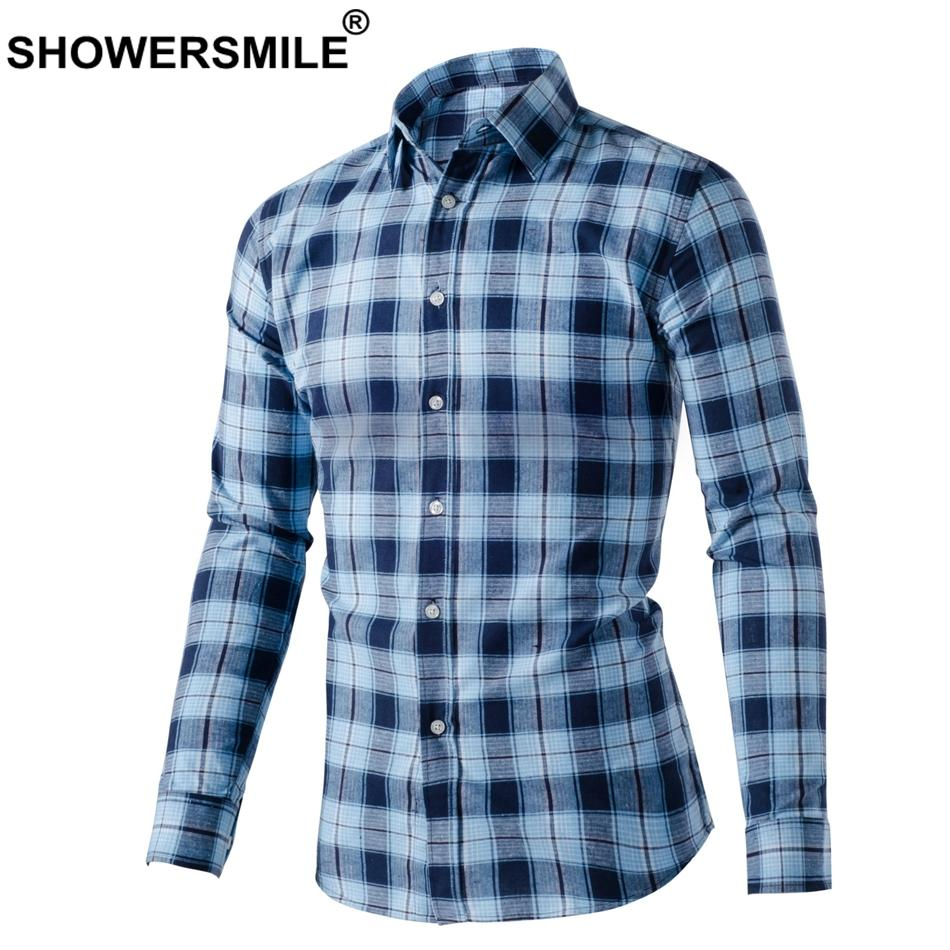 2019 Showersmile Plaid Mens Shirts Casual Slim Fit Cotton Shirt Male