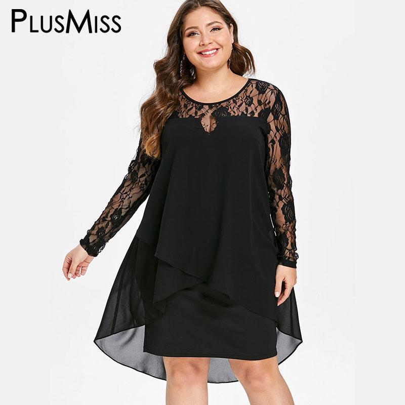 75a83d15020aa PlusMiss Plus Size 5XL Sexy Sheer Black Lace Crochet Dress Women Robe Femme  Chiffon Party Dresses Female Big Size XXXXL XXXL XXL