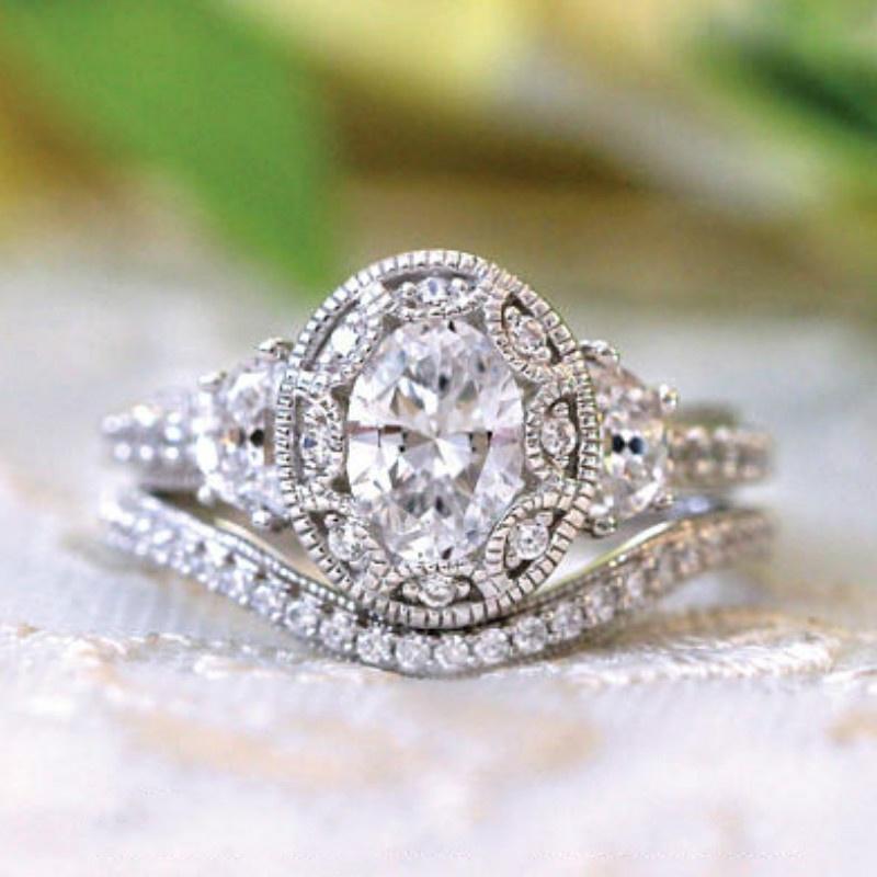 Beautiful Wedding Rings.Fashion Art Style 925 Standard Silver Oval Diamond Love Ring Beautiful Engagement Ring Wedding Ring Size 6 10