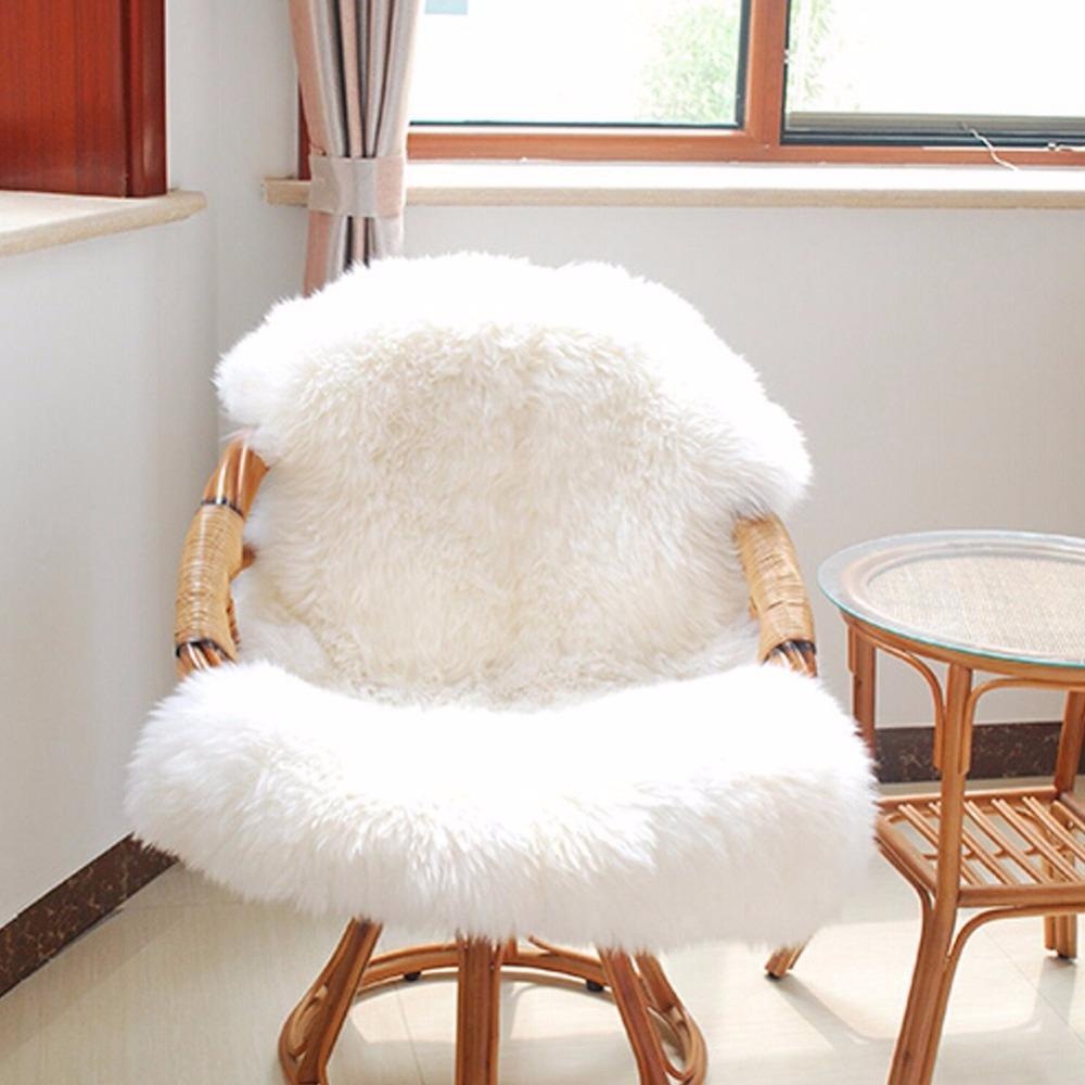 Soft Sheepskin Chair Seat Pad Warm Hairy Carpet Cover Plain Skin Fur Plain  Fluffy Area Rugs Washable Bedroom Faux Mat 60cmx 90cm Blanket