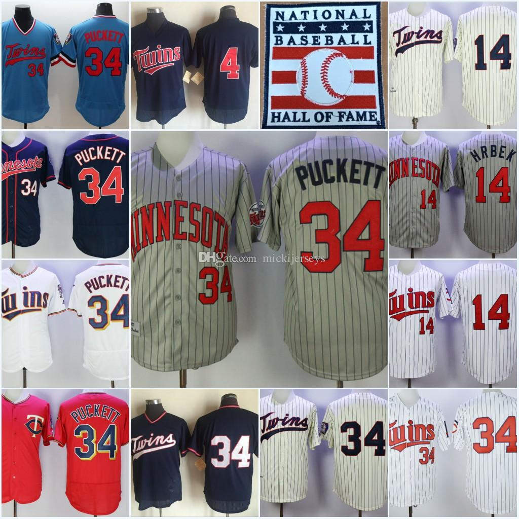 2019 Mens 1987  34 Kirby Puckett Vintage Baseball Jersey Stitched Blue  Pullover White Pinstripe  4 Paul Molitor  14 Kent Hrbek Jersey From  Mickijerseys feaf8ed32