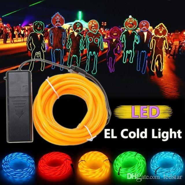 2m Orange Flash Flexible Neon Light Glow El Strip Tube Wire Rope+battery Case Batteries