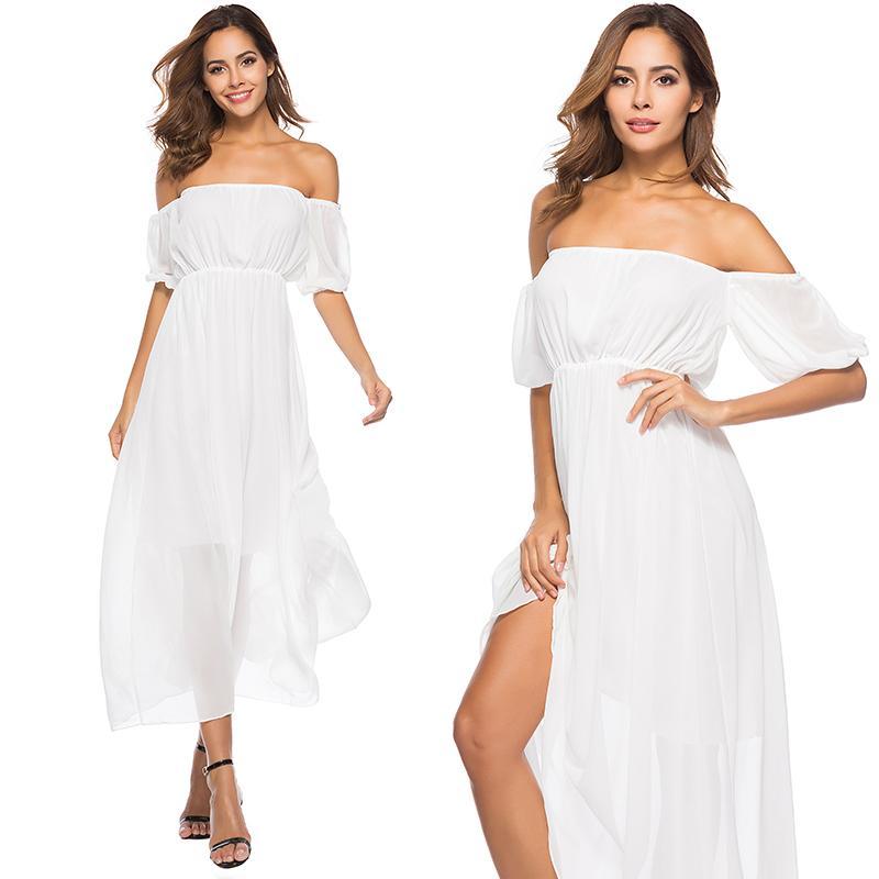951964d4ac Acquista Abito Lungo Da Donna Stile Boho Vestito Da Donna Estivo Da  Spiaggia Con Spalle Scoperte Vestito Lungo Bianco In Chiffon Le Donne  Regalo Compleanno ...