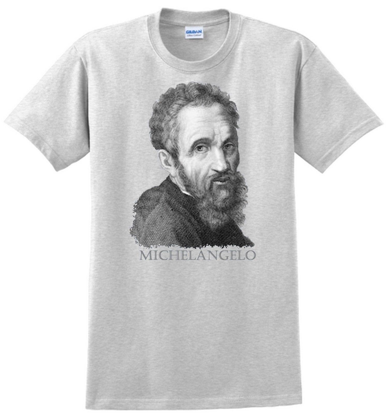 Michelangelo T-shirt  Renaissance sculptor, artist  Gray White,Tee Shirt  Hipster Harajuku Brand Clothing T-Shirt