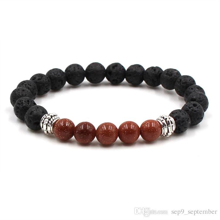 Venta caliente pulseras de lava rock beads nueva llegada es natural de lava rock weathering ágata pulseras