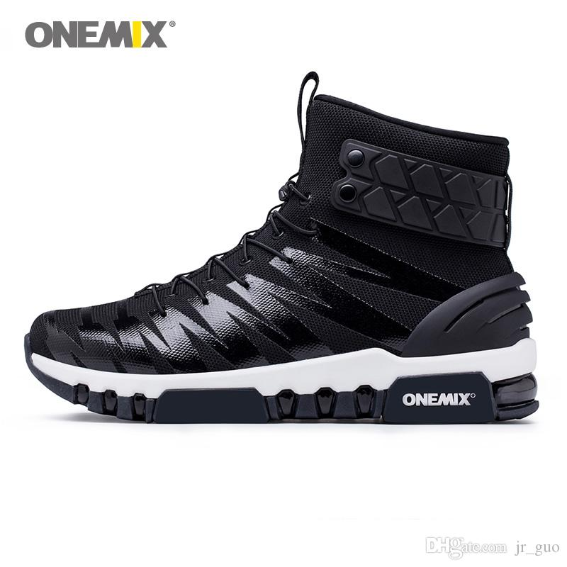 2c186f19d0722 Compre ONEMIX Hombres Botas Al Aire Libre Para Mujeres Cojín De Aire High  Top Zapatillas Deportivas Táctico Negro Zapatos Deportivos Para Correr  Zapatillas ...