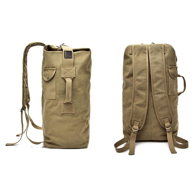 207b8781ffeb Travel Backpack Canvas Durable Hiking Rucksack Large Capacity Hand Luggage  Bucket Bag Shoulder Sports Bag Mountaineering Small Backpack Backpack  Brands From ...