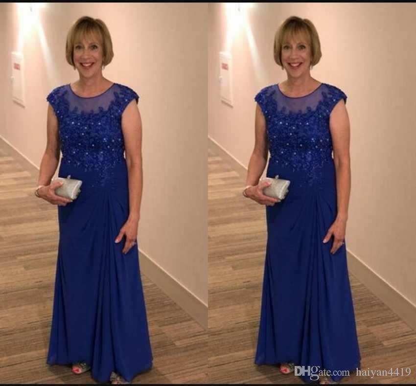 289b5ee5c4e4c 2019 Mother Off Bride Dresses Cap Sleeves Lace Appliques Beaded Chiffon  Royal Blue Long Wedding Guest Dress Formal Prom Dress Evening Gowns Mother  Of The ...