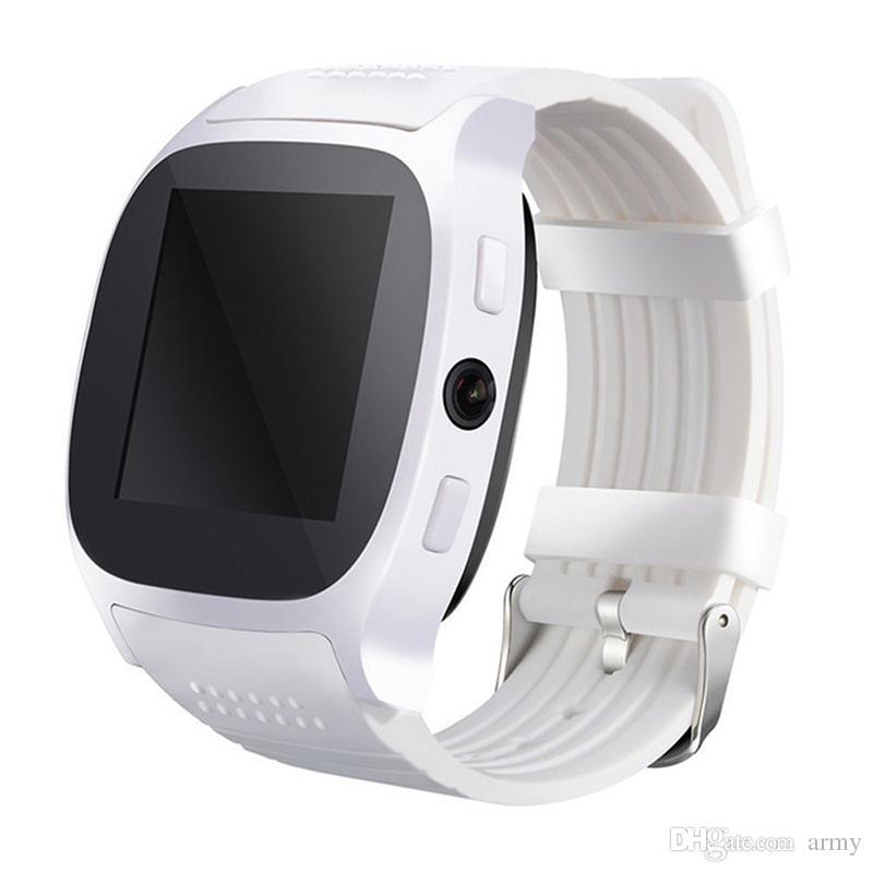 2018 Pour Android Nouveau T8 Bluetooth Smart Podomètre Montres Soutien SIM TF Carte Avec Caméra Sync Appel Message Hommes Femmes Smartwatch Montre
