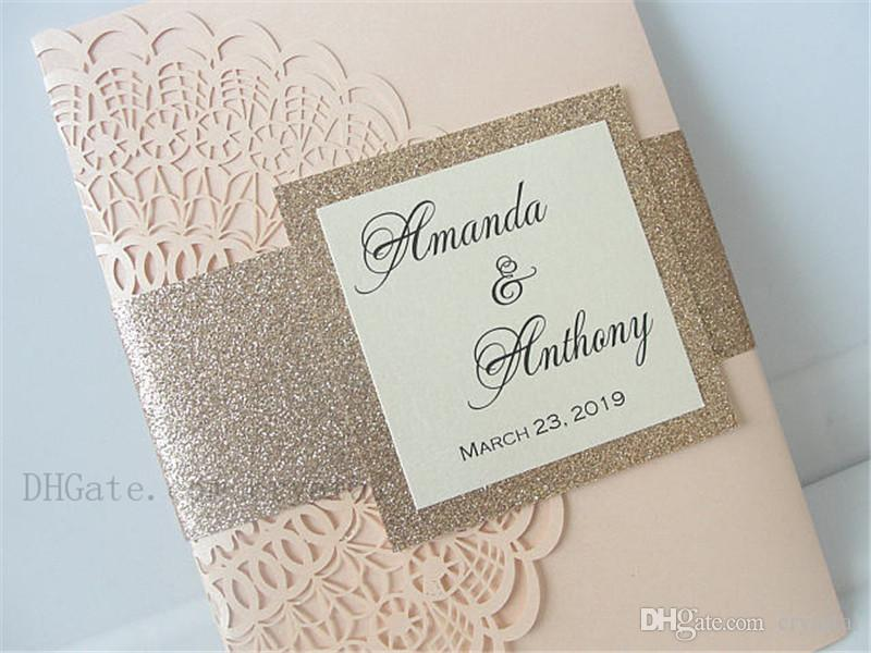... Wedding Invitation With Envelope And Tag, Laser Cut Pocketfold Wedding Invitation, Pocketfold Invite, Informal Wedding Invitation Wording Print Your Own ...
