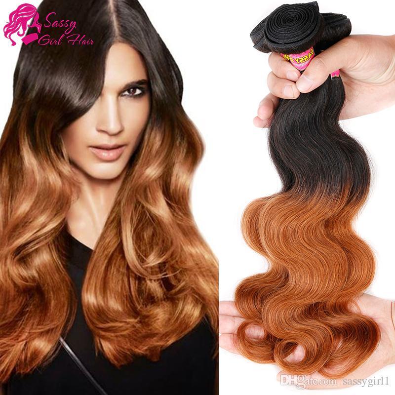 Ombre Indian Hair Bundles Body Wave Human Hair Weave Blackbrown 1b