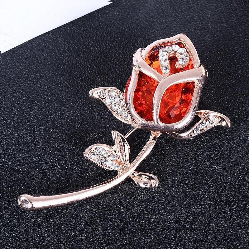 Rose Flower Crystal Rhinestone Metal Brooches Rose Gold Plated Brooch Pins Wedding Bridal Fashion Jewelry