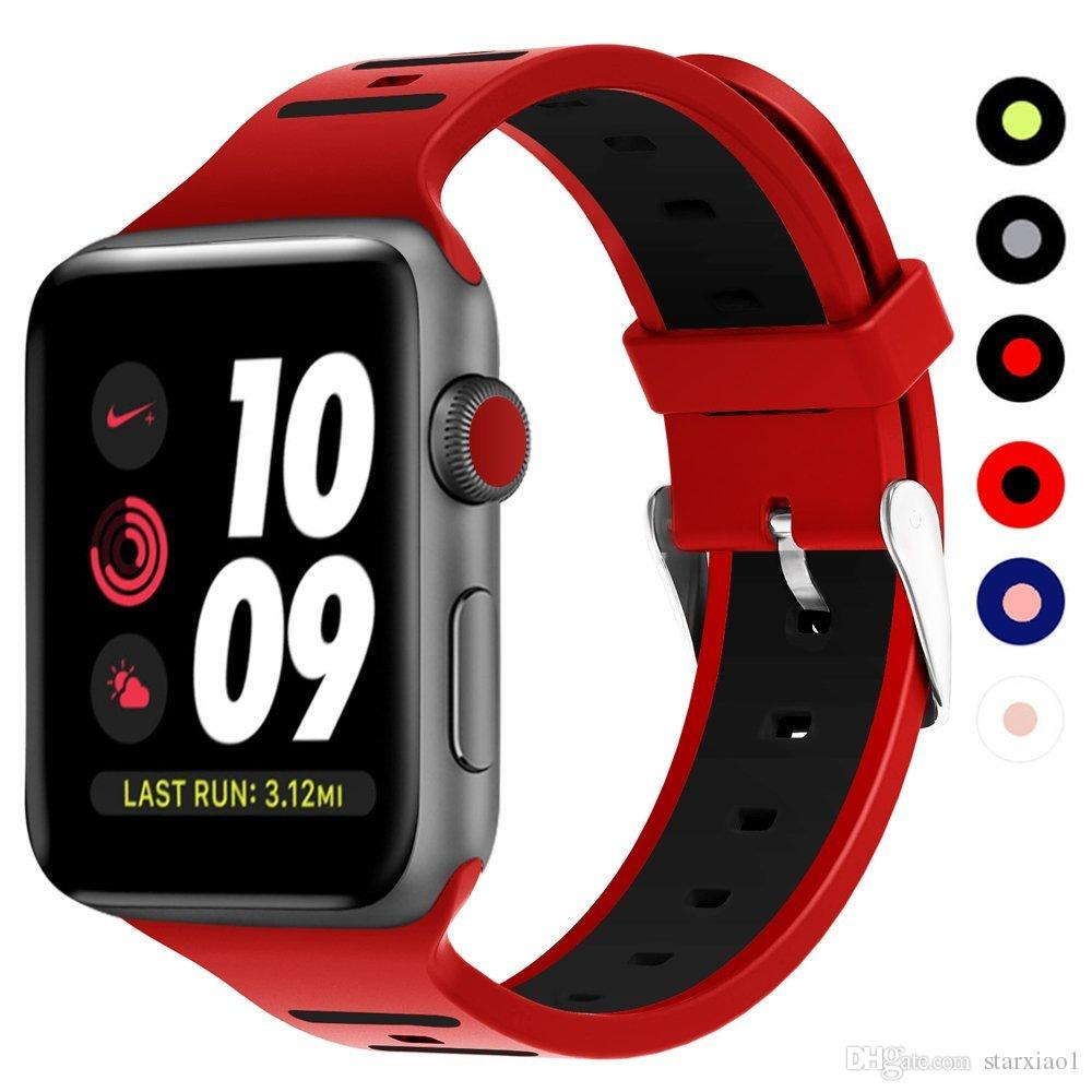 3bd2d25b412 Soft Silicone Strap Band For Apple Watch 42mm 38MM 40MM 44MM Double Color Rubber  Bracelet Strap For Iwatch Series 4 1 2 3 Wrist Watch Straps Iwatch Straps  ...