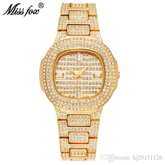 7ea02d03392e Compre Miss Fox Marca Reloj De Cuarzo Señoras De Oro Relojes De Pulsera De  Moda De Acero Inoxidable Diamante Reloj De Pulsera Niñas Reloj Femenino  Horas DZ ...