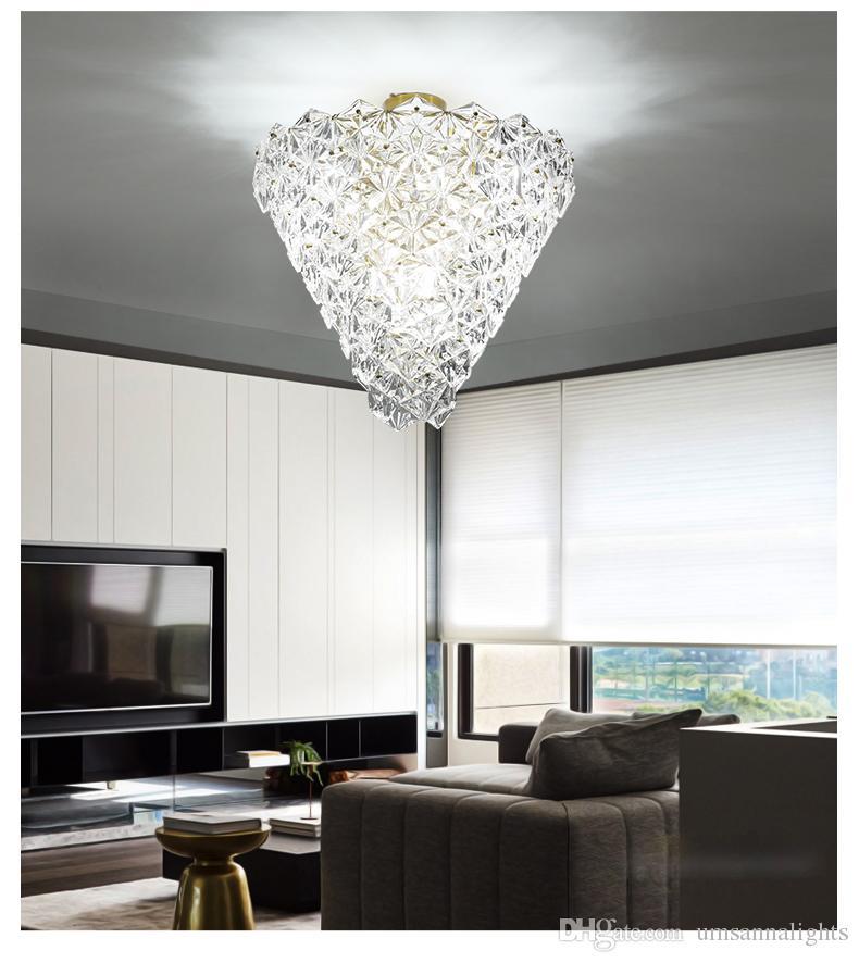 Amerikan Kristal Cam Tavan Işıklar Fikstür LED Işık Avrupa Snowflower Tavan Lambaları Ev Kapalı Aydınlatma Salonu Yatak Oturma Odası Lamba