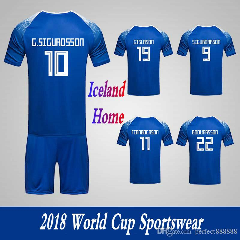 new product eb97c 470f3 Men's Clothing Tracksuits Iceland National Team Home Football Sport Suits  2018 World Cup Soccer Uniform Clothes Shorts