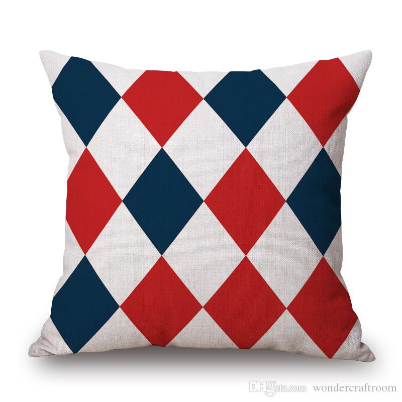British Geometric Art Cushion Cover Stars And Stripes Plaids Rhombus Cushion Covers Decorative Linen Cotton Pillow Case For Sofa Seat