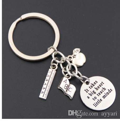 58b0a42a72 1pc Teacher Keychains It takes a big heart to teach little minds Keyring  Key Ring Jewelry For Teachers Day Gift