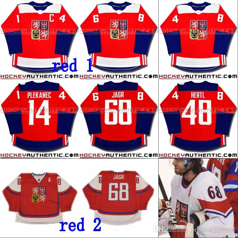 f515d311146 2019  68 Jaromir Jagr Czech Republic WCH Team 2016 World Cup Of Hockey  Jersey 14 Tomas Plekanec 48 Tomas Hertl Custom Hockey Jerseys From  Projerseysword