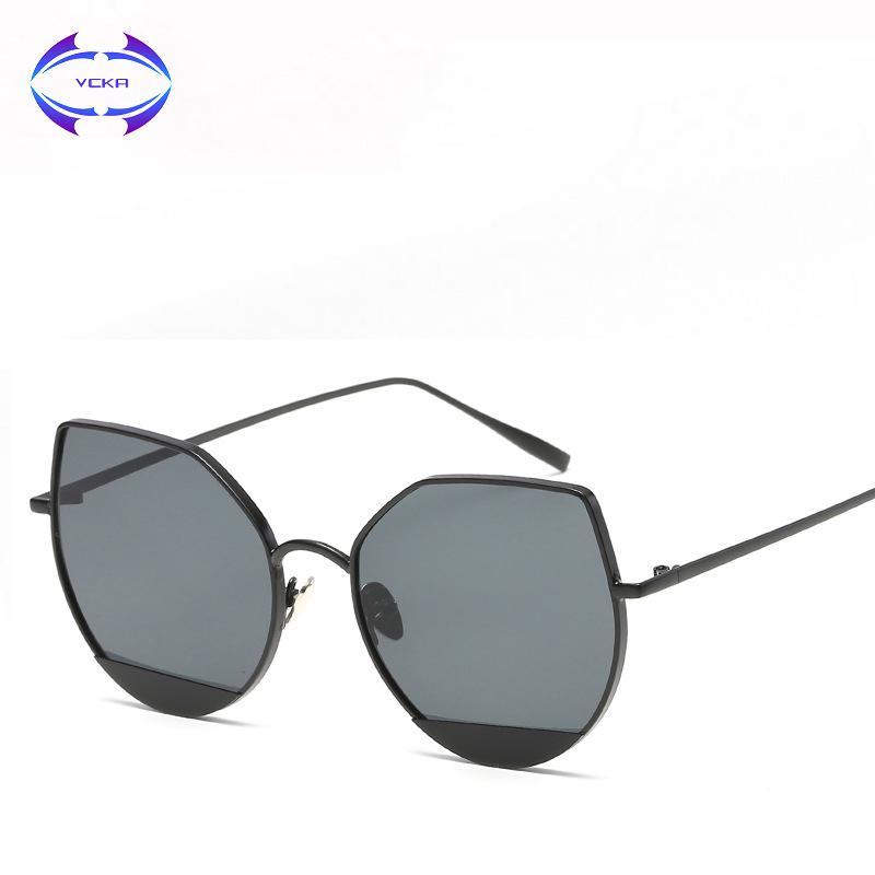 492303b1a1 VCKA 2018 New Fashion Women Cat Eye Sunglasses Full Metal Frame And Legs  With Plane Lenses Special Lady Slim Glasses Cat Eye Sunglasses Round  Sunglasses ...