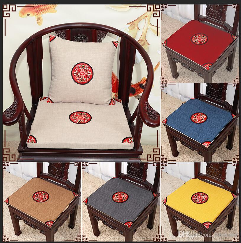 Ethnic Embroidery Vintage Chair Seat Cushion Cotton Linen Home Decor