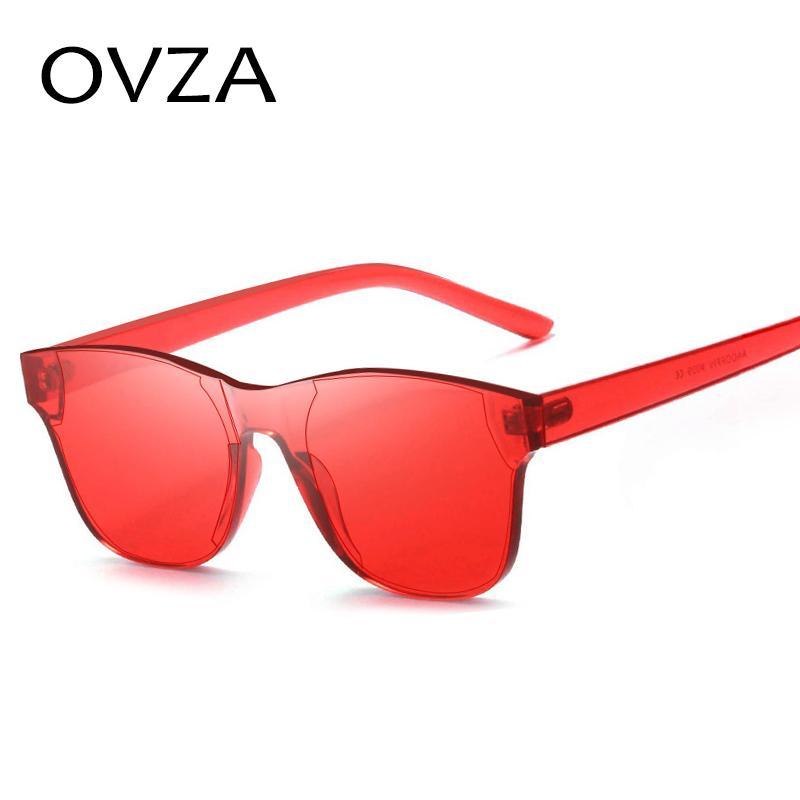 OVZA Candy-colored Sunglasses Women Flat Top Decorative Sunglasses Mens Fashion Cool Style gafas de sol S5022