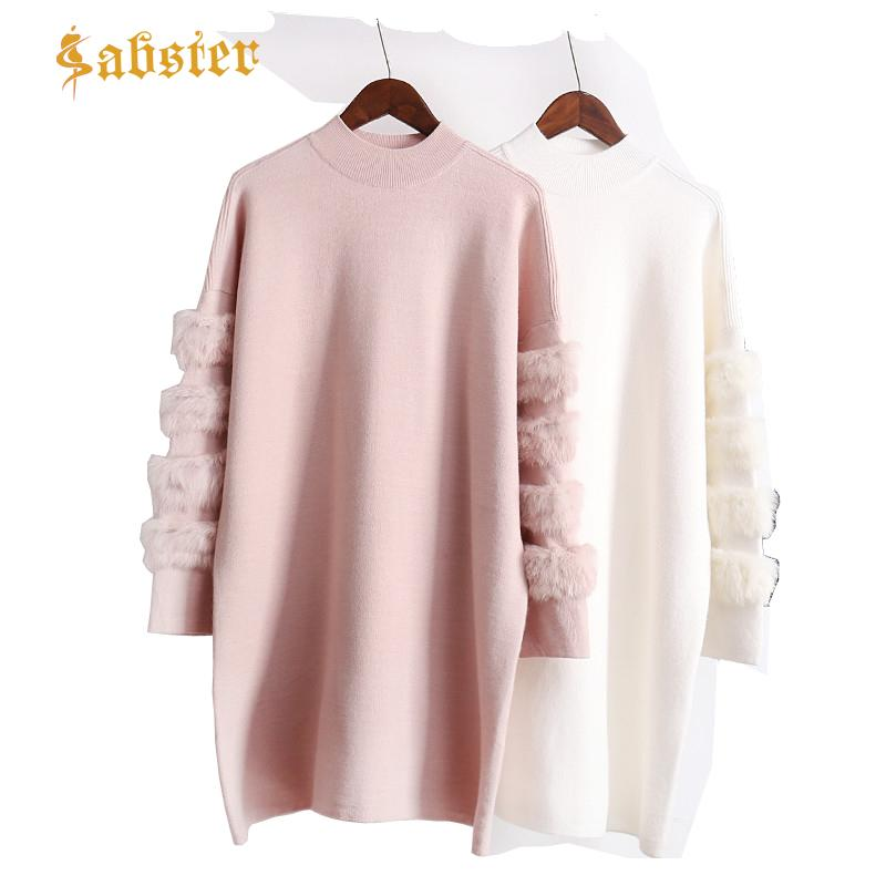26a09b23f39 2019 2018 NEW Autumn Long Oversized Sweater Women Casual Plush Sleeve Woman  Sweaters Pullovers Soild Color Female Tops XZ460 From Hannahao