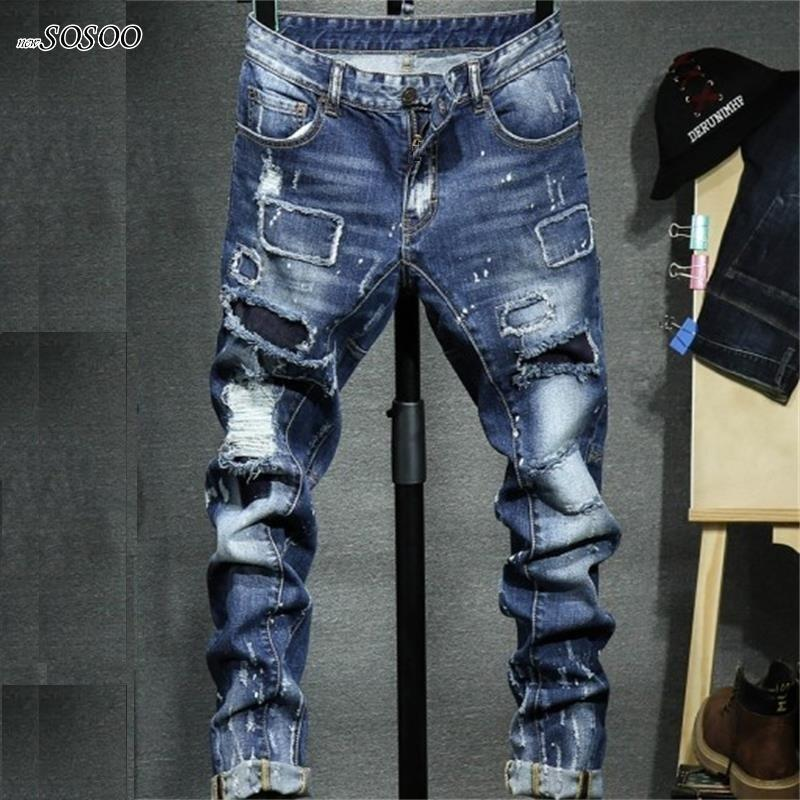 7bb087de 2018 nuevos jeans rotos para hombres, miedo de Dios, algodón y denim. Jeans  de moda de estilo americano y europeo hombres # 1712