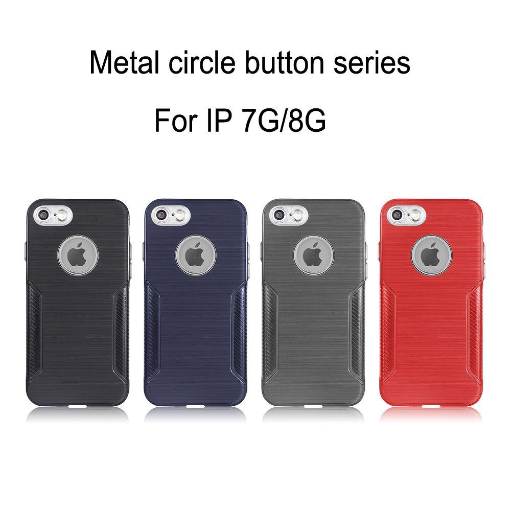 Kohlefaser zeichnung fall für iphone 7/8 metall kreise für kamera loch logo loch metallic lautstärketaste weichen tpu fall rückseitige abdeckung