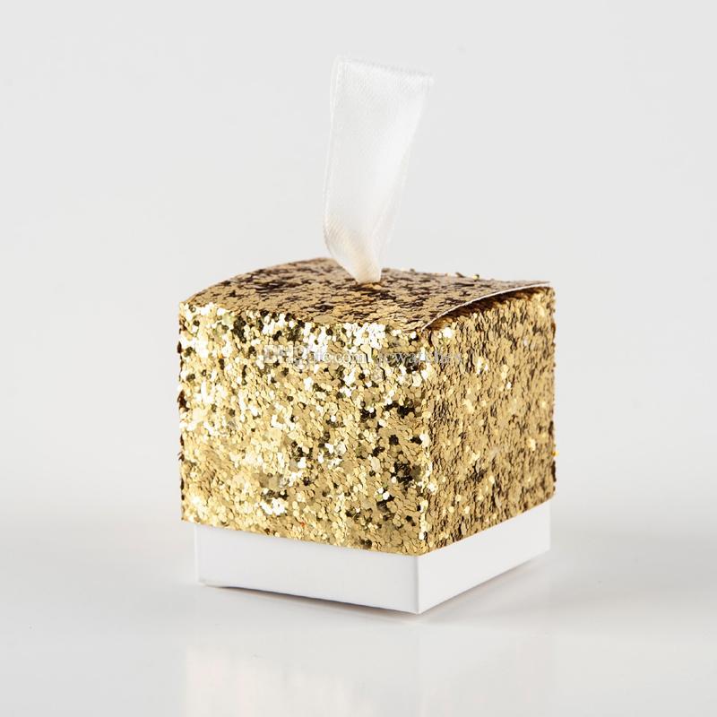 Kurdele Ile 3 Renkler Altın Glitter Şeker Kutusu Düğün Parti Hediye Kutusu Toptan Şekeri