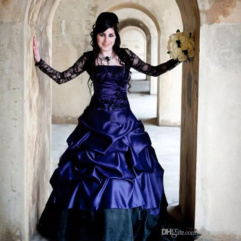 Victorian Wedding Dresses Gothic Plus Size Long Sleeves Purple and Black  Ruffles Satin Corset Strapless Plus Size Lace Bridal Gowns