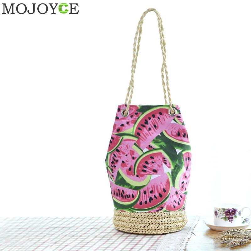 e94d1ea81f5e Straw Summer Beach Bag For Women Fresh Fruit Watermelon Printing Tote  Bucket Bag Lady Canvas Shoulder Woven HandBag Handmade Leather Bags  Shoulder Bags From ...