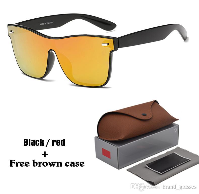 86d581b99cc5b Compre Marca Do Vintage Óculos De Sol Dos Homens Sem Aro Quadrado Quadro De  Viagem Lente Do Painel Plana Masculino Óculos De Sol Mulheres Oculos Gafas  Com ...