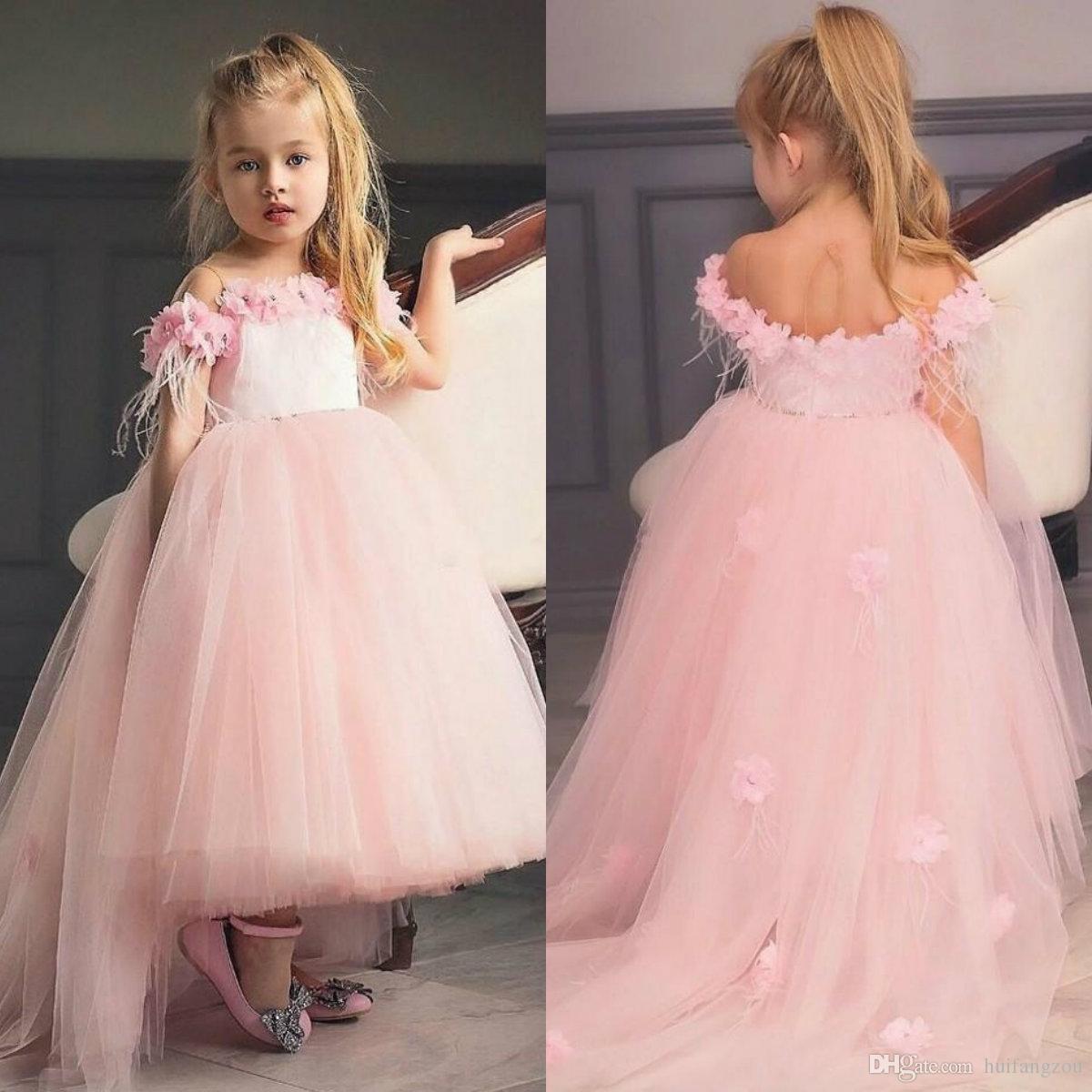 Compre Vestidos De Niña De Tul De Color Rosa Claro Vestidos De ...
