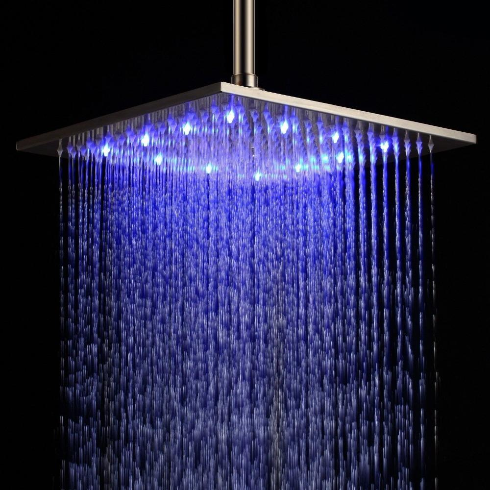 2018 12\'\' Led Stainless Steel Bath Ceiling Rain Shower Head In ...