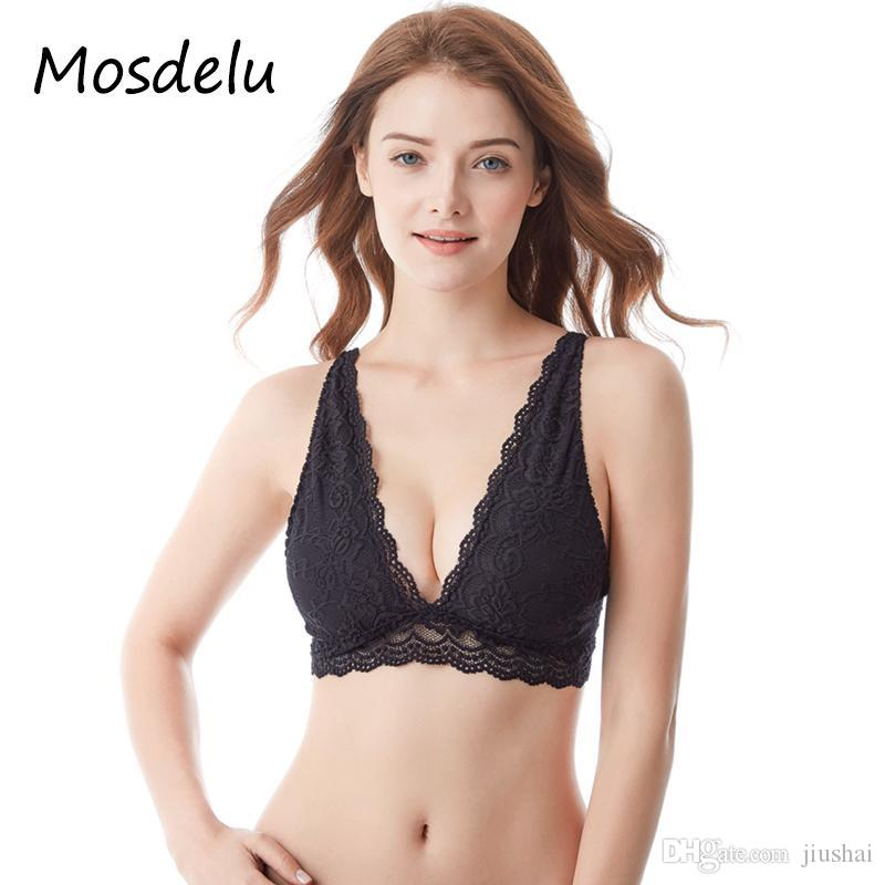 6ec7d13d401a17 2019 Mosdelu Sheer Lace Bralette Crop Top Mesh Bras For Women Push Up Lace  Bra Top Wireless Sexy Lingerie Brassiere Women Underwear From Jiushai