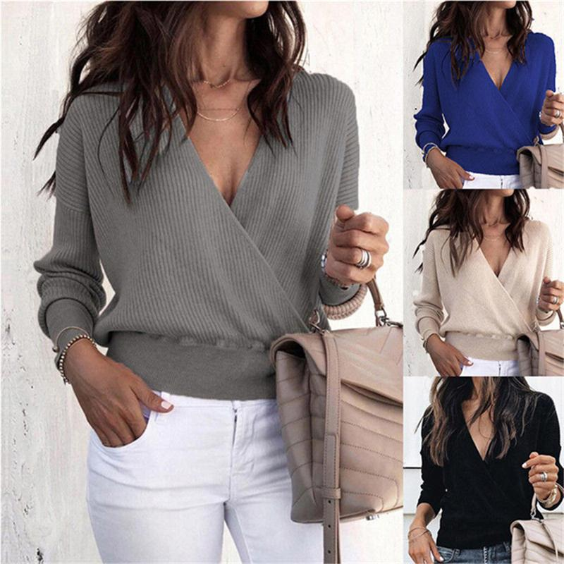 88bba326f80a 2019 New 2019 Sexy Deep V Neck Long Sleeve Loose Blouse Women Fashion Casual  Vintage Solid Crossed Baggy Party Club Tee Shirt Tops From Jamie05