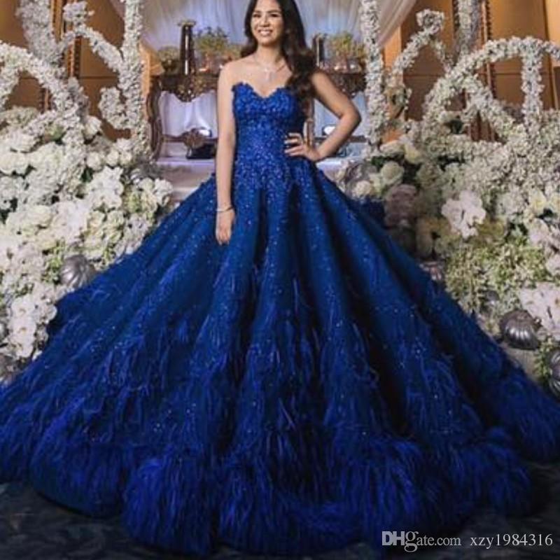 Wspaniała Royal Blue Sweet Sukienka Luksusowa Dubai Peathed Koronkowa Suknia Balowa Celebrity Suknie Wieczorowe Oszałamiająco Saudyjskie Arabia Red Dywan Suknie
