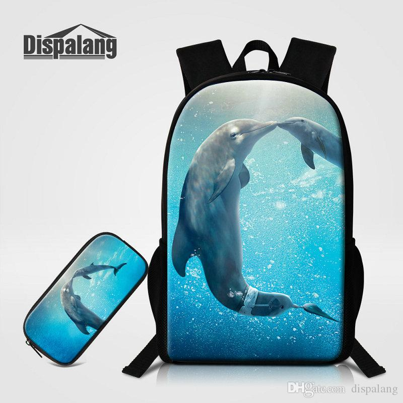 Backpack Pencil Case Animal Shark Dolphin Backpacks For Primary Students  Children Travel Shoulder Bag Knapsack Mochila Rugtas Pack Handbags Rucksack  From ... 2119fd319d5ff
