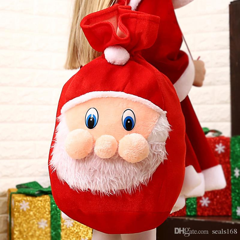 091caad00f66 Christmas Gift Wrap Bags Backpack Santa Claus Drawstring Candy Bags New  Velvet Soft Large Decoration Bag Supplies DHL SHip HH7-1806
