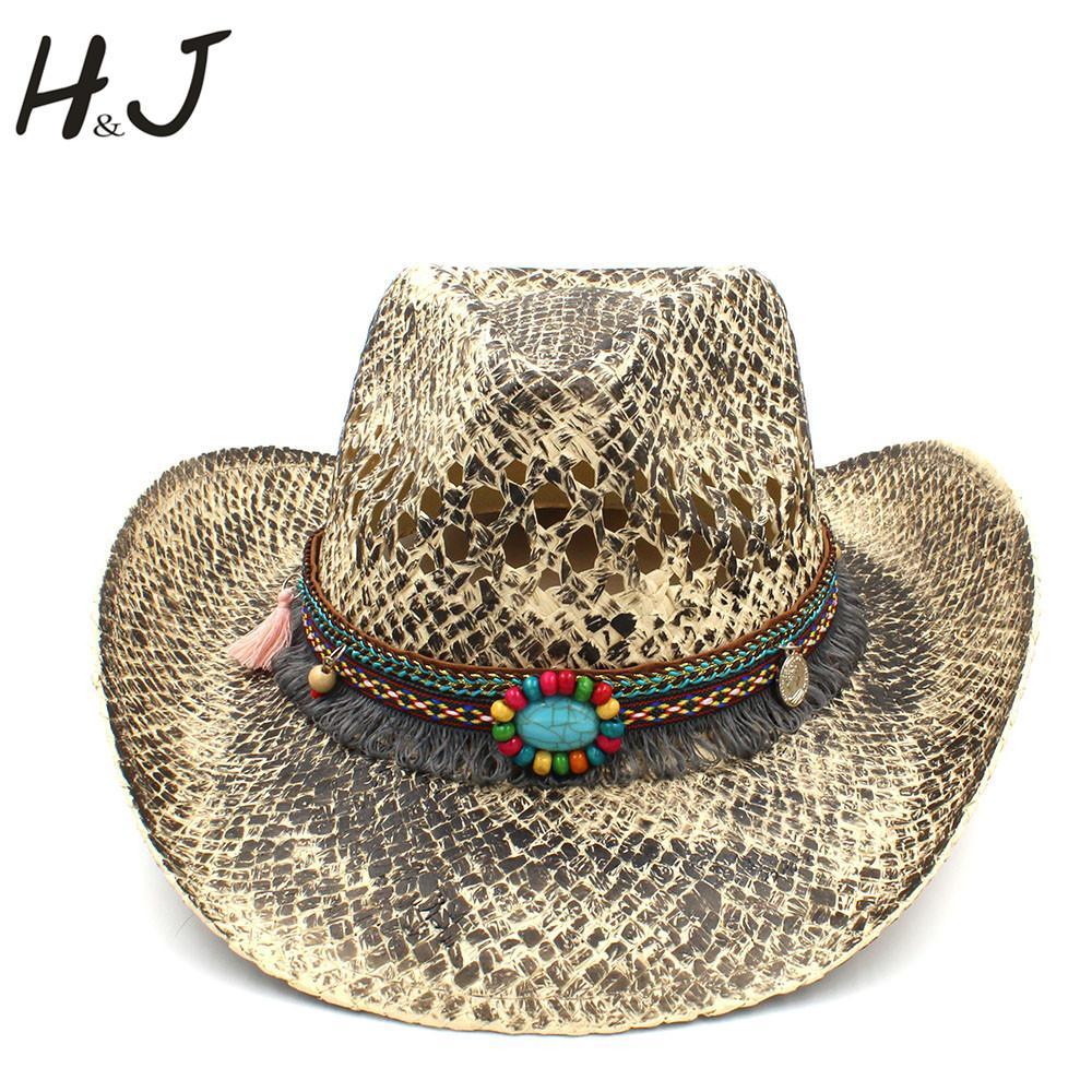 Women Men Straw Western Cowboy Hat Summer Handmade Weave Lady Sombrero  Hombre Cowgirl Caps Bohemian Tassel Ribbon Size 56 58CM Knit Hats Bailey  Hats From ... 9fbef43b0c9
