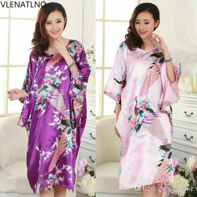 7df54f2ae5 2016 Short Long Sleeve Floral Sexy Plus Size Women Silk Robe Lady Girl Silk  Pajamas Housecoat Nightgowns Loungewear Sleepwear Sleepwear  Chemisesleepwear ...